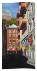 Quebec City Side Street Beach Sheet by Alan Mager
