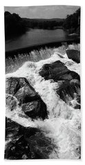 Beach Towel featuring the photograph Quechee, Vermont - Falls 2 Bw by Frank Romeo