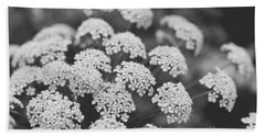 Beach Towel featuring the photograph Queen Anne's Lace Floral Monochrome by Ella Kaye Dickey