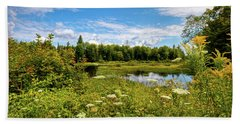 Beach Towel featuring the photograph Queen Anne's Lace On The Moose River by David Patterson