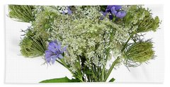 Queen Anne's Lace With Purple Flowers Beach Sheet