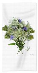 Queen Anne's Lace With Purple Flowers Beach Towel by Lise Winne