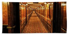 Beach Sheet featuring the photograph Queen Mary Hallway by Mariola Bitner