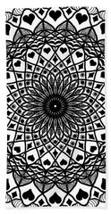Queen Of Hearts King Of Diamonds Mandala Beach Sheet