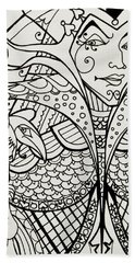 Queen Of Spades Close Up With Crow Beach Towel