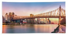 Queensboro Bridge At Sunset Beach Towel
