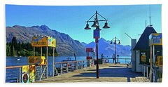Beach Sheet featuring the digital art Queenstown's Majestic Mountains by Kathy Kelly