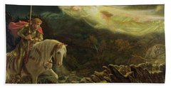 Quest For The Holy Grail Beach Sheet by Arthur Hughes