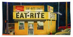 Quiet Night At Eat Rite Diner Beach Sheet
