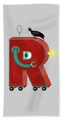 R Is For Robot Beach Towel