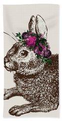 Rabbit And Roses Beach Towel
