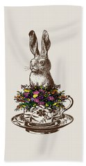 Rabbit In A Teacup Beach Towel by Eclectic at HeART