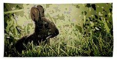 Rabbit In Meadow Beach Towel