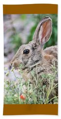 Rabbit Munching Lunch Beach Sheet