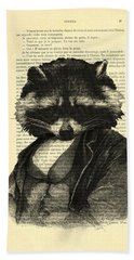 Raccoon Portrait, Animals In Clothes Beach Towel by Madame Memento