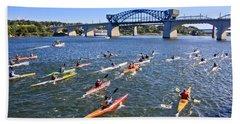 Race On The River Beach Towel