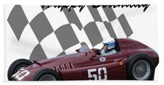 Racing Car Birthday Card 1 Beach Towel by John Colley