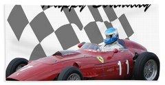 Racing Car Birthday Card 2 Beach Towel by John Colley