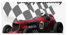Racing Car Birthday Card 3 Beach Sheet