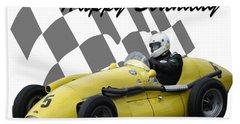 Racing Car Birthday Card 4 Beach Towel by John Colley