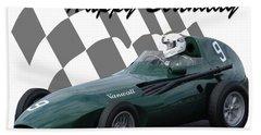 Racing Car Birthday Card 5 Beach Towel by John Colley