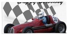Racing Car Birthday Card 6 Beach Towel by John Colley