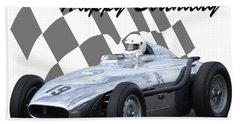 Racing Car Birthday Card 7 Beach Towel by John Colley