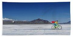 Racing On The Bonneville Salt Flats Beach Towel