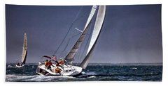 Racing To Nantucket Beach Towel