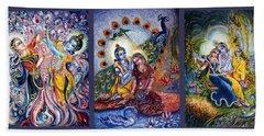 Radha Krishna Cosmic Leela Beach Towel