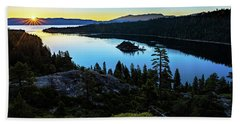 Radiant Sunrise On Emerald Bay Beach Sheet