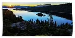 Radiant Sunrise On Emerald Bay Beach Sheet