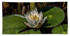Radiant White Pond Lily  Beach Sheet