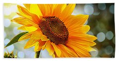 Radiant Yellow Sunflower Beach Towel