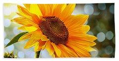 Radiant Yellow Sunflower Beach Sheet