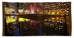 Radio City Reflection Beach Towel