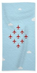 Raf Red Arrows In Formation Beach Towel