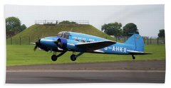 Raf Scampton 2017 - Avro Anson Nineteen During Take Off Beach Towel