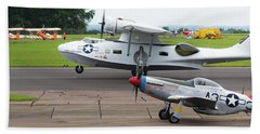 Raf Scampton 2017 - P-51 Mustang With Pby-5a Landing Beach Towel