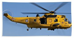Raf Sea King Search And Rescue Helicopter 2 Beach Towel by Steve Purnell