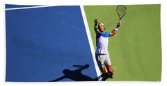 Rafeal Nadal Tennis Serve Beach Towel by Nishanth Gopinathan
