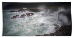 Raging Waves On The Oregon Coast Beach Towel