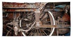 Rail Wheel Grunge Detail,  Steam Locomotive 06 Beach Towel