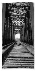 Railroad Bridge Black And White Beach Towel