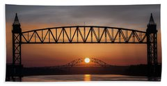 Railroad Bridge Framing The Bourne Bridge During A Sunrise Beach Sheet