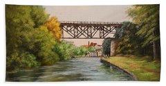 Railroad Bridge Over Erie Canal Beach Sheet