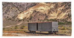 Beach Towel featuring the photograph Railroad Car In A Beautiful Setting by Sue Smith