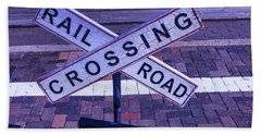 Railroad Crossing Sign  Beach Towel