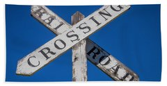 Railroad Crossing Wooden Sign Beach Towel