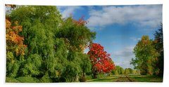 Railroad Tracks At Grand-pre National Historic Site Beach Towel